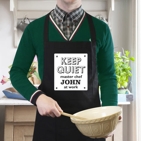 Personalised Black Apron with Keep Quiet Design