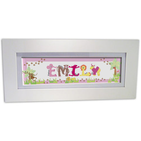 Personalised Animal Name Frame Pink Gift