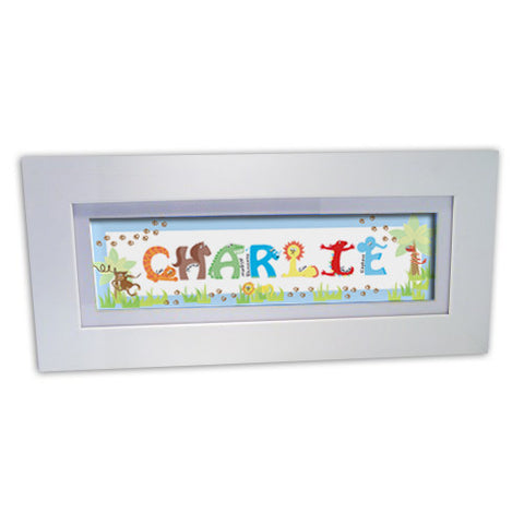 Personalised Animal Name Frame Blue Gift