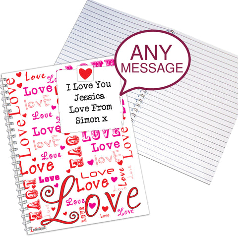 Personalised Lots of Loves A5 Notebook Gift