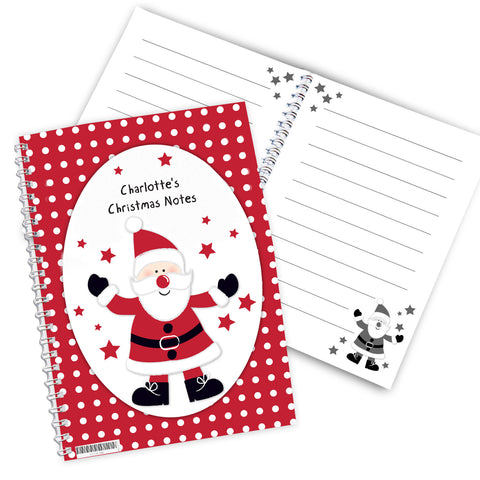Personalised Spotty Santa A5 Notebook Gift