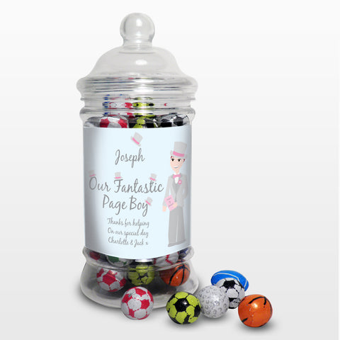 Personalised Fantastic Page Boy Chocolate Balls Jar Gift