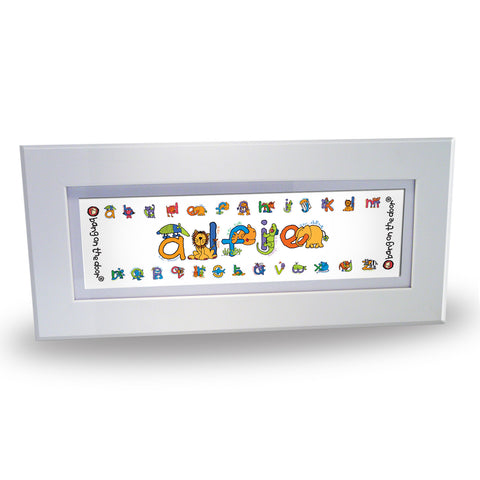 Bang On The Door Animal Alphabet Boys Name Frame Gift