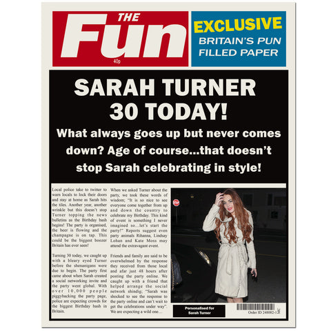 Personalised The FUN Birthday Spoof Newspaper Gift
