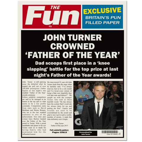 Personalised The FUN Dad Spoof Newspaper Present