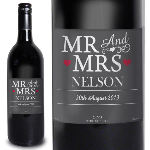 Personalised Mr and Mrs Red Wine Gift