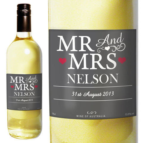 Personalised Mr and Mrs White Wine Gift