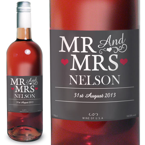 Personalised Mr and Mrs Rose Wine Present