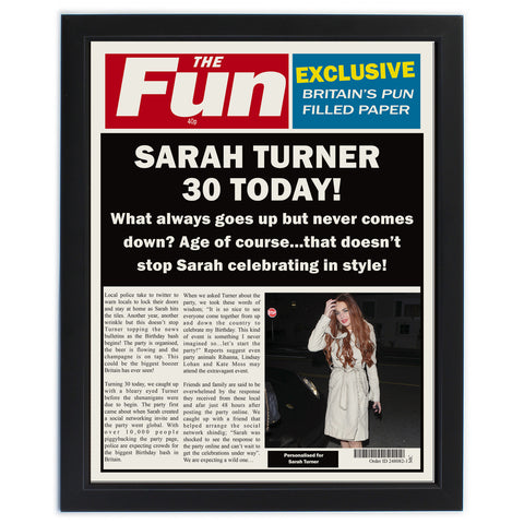 Personalised The Fun Spoof Newspaper Birthday Framed Print Gift