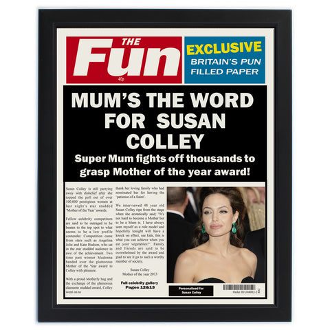 Personalised The Fun Spoof Newspaper Mum Framed Print Gift