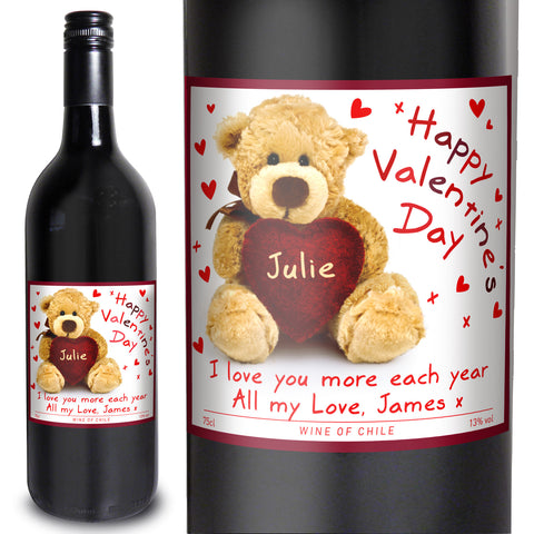 Personalised Teddy Heart Red Wine Gift