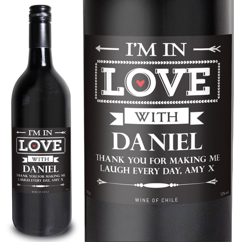 Personalised In Love With Red Wine Present
