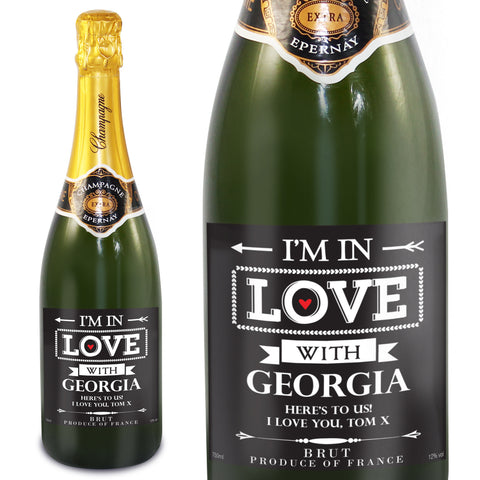 Personalised In Love With Champagne Present