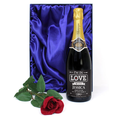 Personalised In Love With Champagne and Faux Rose Gift