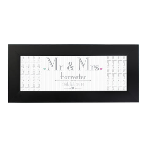 Personalised Decorative Wedding Mr and Mrs Black Name Frame Gift