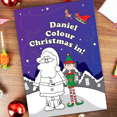 Personalised It's Christmas Elf Colouring Book Gift