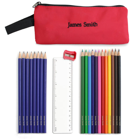 Personalised Red Pencil Case and Personalised Content Gift