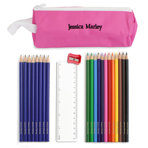 Personalised Pink Pencil Case and Personalised Content Gift