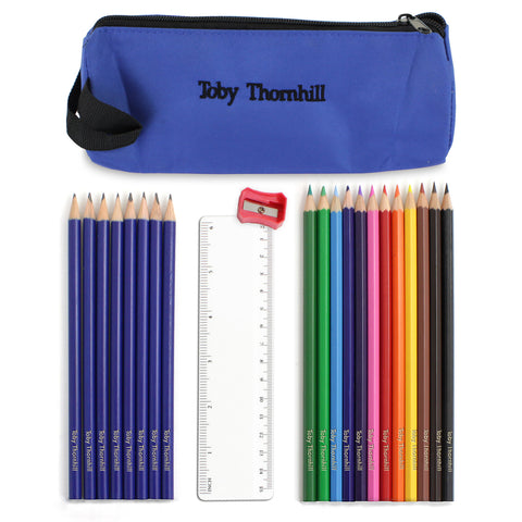 Personalised Blue Pencil Case and Personalised Content Present
