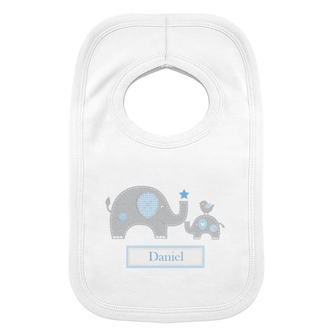 Personalised Blue Elephant 0-3 Months Baby Bib Present