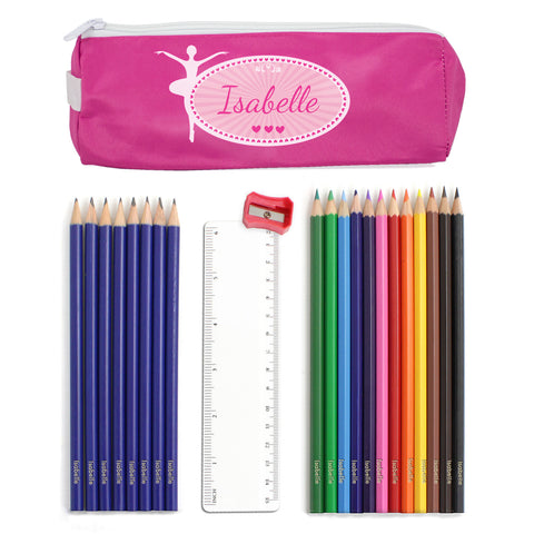 Personalised Pink Ballerina Pencil Case and Personalised Contents Gift
