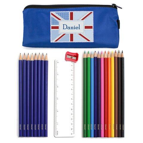 Personalised Blue Patchwork Union Jack Pencil Case and Personalised Contents Gift