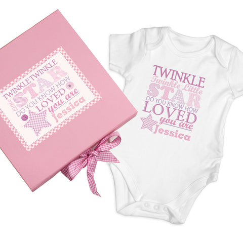 Personalised Twinkle Girls Pink Gift Set - Baby Vest Gift
