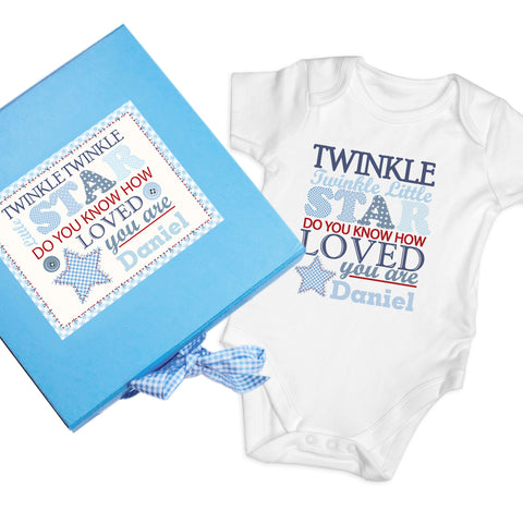 Personalised Twinkle Boys Blue Gift Set - Baby Vest Gift