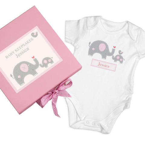 Personalised Pink Baby Elephant Gift Set - Baby Vest Gift