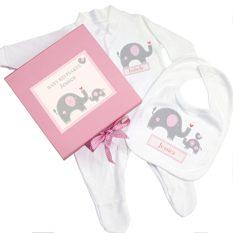 Personalised Pink Baby Elephant Gift Set - Babygrow and Bib Present