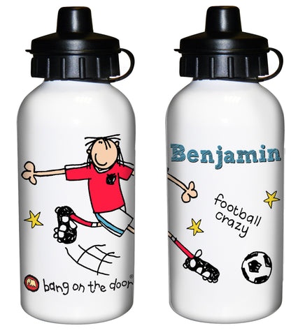 Personalised Bang on the Door Football Crazy Drinks Bottle Gift
