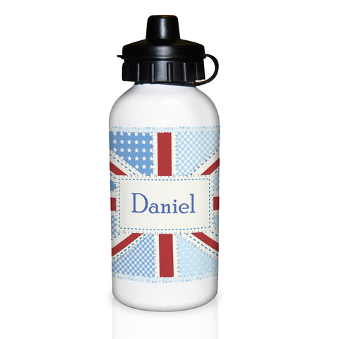 Personalised Patchwork Union Jack Drinks Bottle Gift