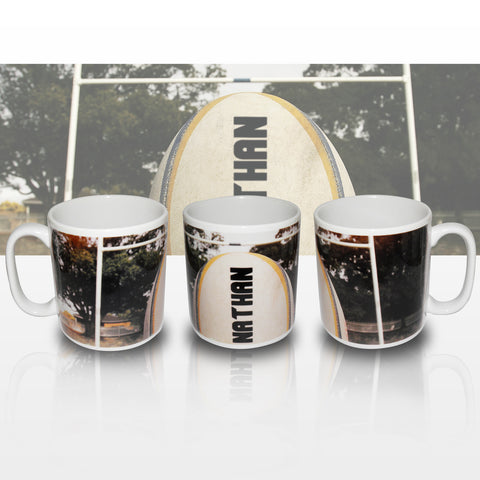 Personalised Rugby Ball Mug Present