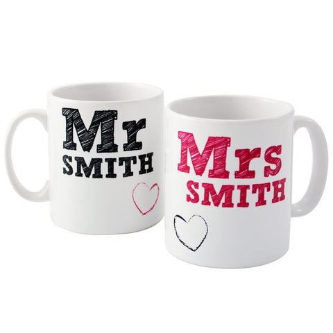 Personalised MR and MRS Mug Set Gift