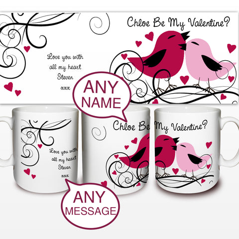 Personalised Love Birds Mug Present