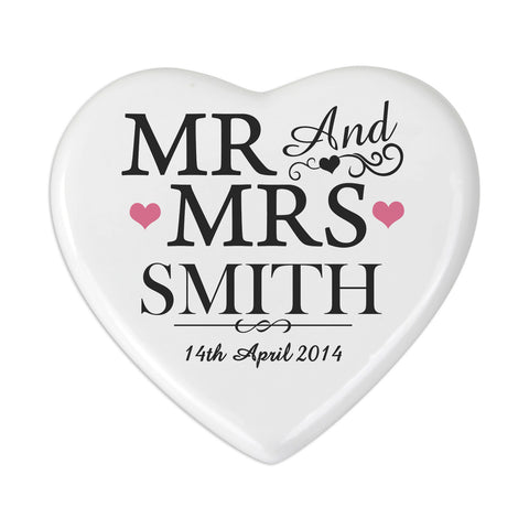 Personalised Mr and Mrs Heart Coaster Gift