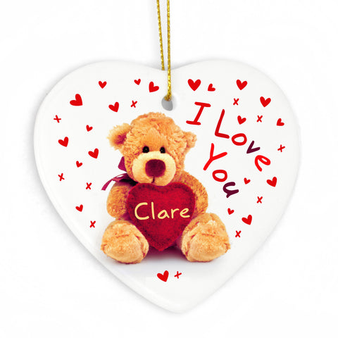 Personalised Teddy Heart - Heart Decoration Gift