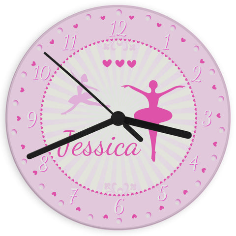 Personalised Ballerina Glass Clock Gift