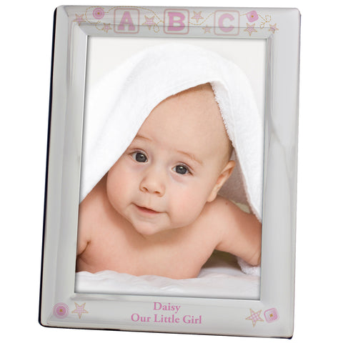 Personalised Pink ABC Silver Photo Frame Gift