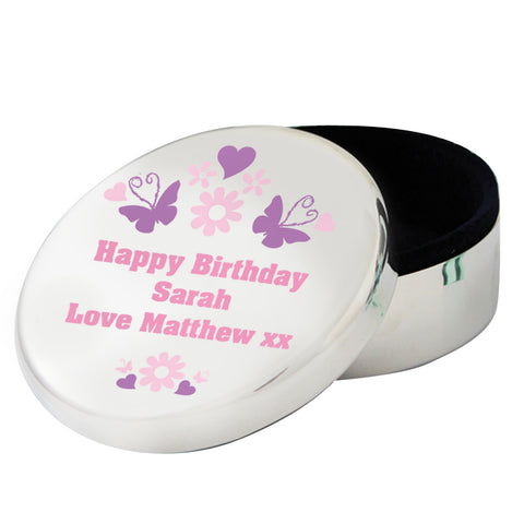 Personalised Butterfly Round Trinket Gift