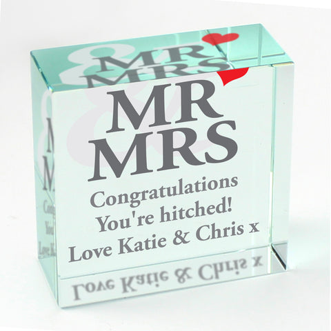 Personalised Mr and Mrs Medium Crystal Token Gift