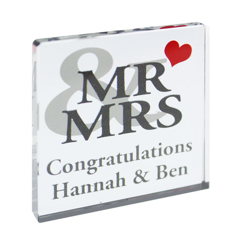 Personalised Mr and Mrs Small Crystal Token Gift