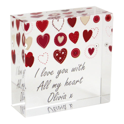 Personalised Fabric Hearts Design Medium Crystal Token Gift