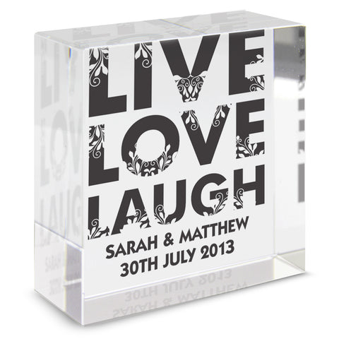 Personalised Live Love Laugh Medium Crystal Token Present