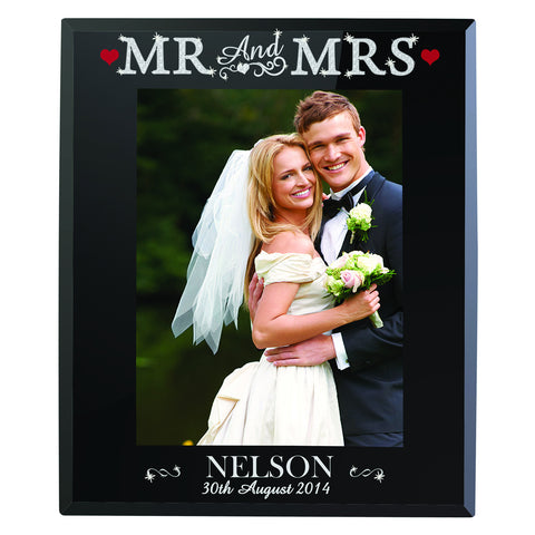 Personalised Bling Mr and Mrs Black Glass Photo Frame Gift