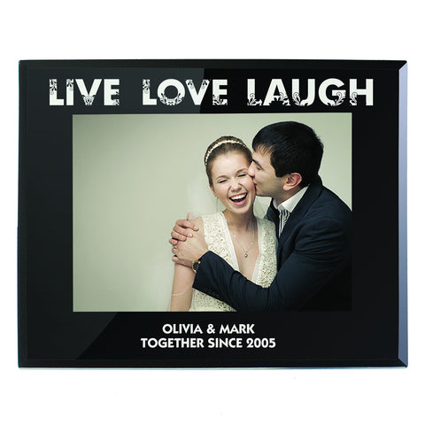 Personalised Live Love Laugh Black Glass Photo Frame