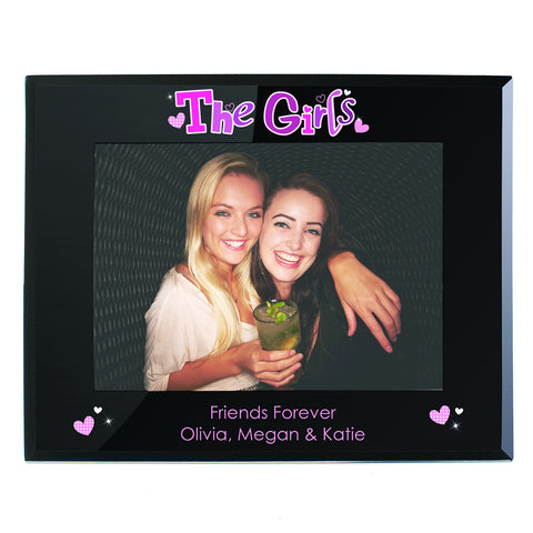 Personalised The Girls Black Glass Photo Frame