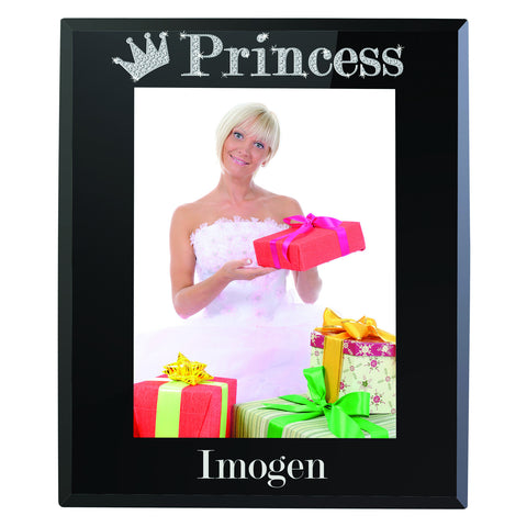 Personalised Bling Princess Black Glass Photo Frame Gift