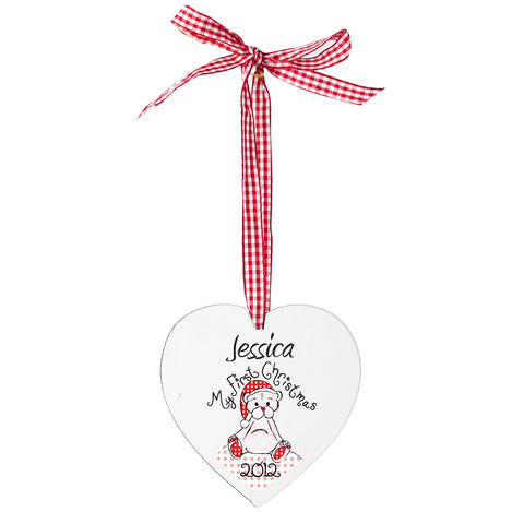 Personalised 1st Christmas Teddy Heart Shaped Decoration Present