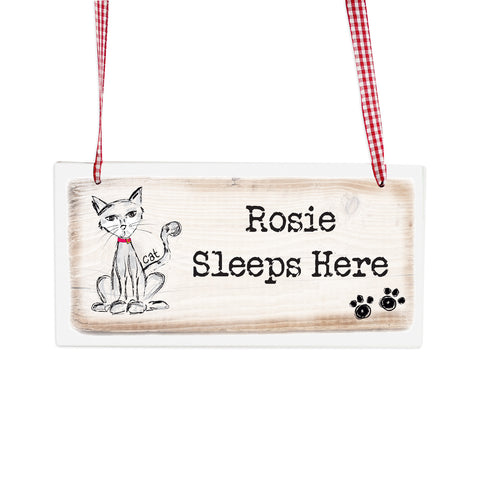 Personalised Cat Wooden Sign Gift